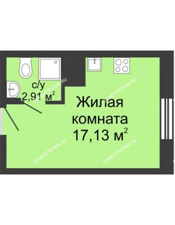 Студия 20,01 м² в ЖК Красная поляна, дом № 6