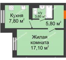1 комнатная квартира 34,3 м² в ЖК Жюль Верн, дом № 1 корпус 1 - планировка
