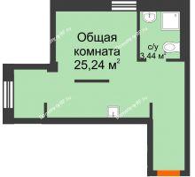1 комнатная квартира 29,7 м² в Микрорайон Новая жизнь, дом позиция 19 - планировка