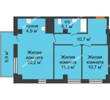 3 комнатная квартира 65 м² в ЖК Времена года, дом № 1 - планировка