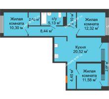 3 комнатная квартира 78,8 м² в Микрорайон Видный, дом ГП-20 - планировка