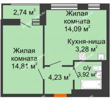 1 комнатная квартира 43,07 м² - ЖК Олимпийский
