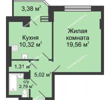 1 комнатная квартира 40,68 м² в ЖК Сердце Ростова, дом Этап II