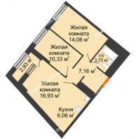 2 комнатная квартира 59,78 м² в ЖК Дом на Набережной, дом № 1 - планировка