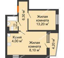 2 комнатная квартира 47,2 м² в ЖК Династия, дом Литер 2 - планировка