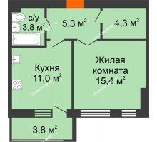 1 комнатная квартира 43,6 м² в ЖК Славутич, дом ГП-1 - планировка