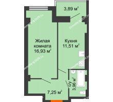 1 комнатная квартира 39,65 м², ЖК Уютный дом на Мечникова - планировка