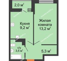 1 комнатная квартира 32,2 м² в ЖК SkyPark (Скайпарк), дом Литер 1, корпус 2 - планировка