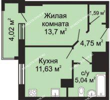 1 комнатная квартира 38,72 м², ЖК Гелиос - планировка