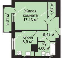 1 комнатная квартира 40,93 м², ЖК Гелиос - планировка
