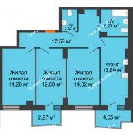 3 комнатная квартира 77,36 м² в ЖК Сердце Ростова 2, дом Литер 8 - планировка