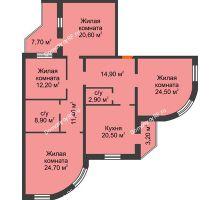 4 комнатная квартира 140,6 м², ЖК по ул. Циолковского - планировка