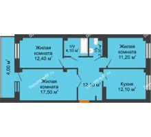 3 комнатная квартира 75,6 м², ЖК GEO (ГЕО) - планировка