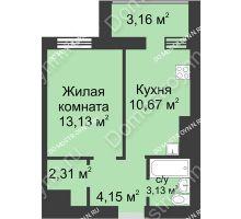 1 комнатная квартира 36,55 м² - ЖК Буревестник