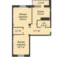 2 комнатная квартира 72,8 м² в ЖК На Победной, дом № 3 - планировка