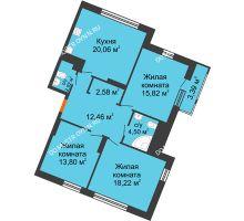 3 комнатная квартира 93,55 м² в ЖК Книги, дом № 2 - планировка