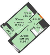 1 комнатная квартира 37,17 м² в ЖК Дом на Набережной, дом № 1 - планировка