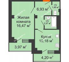 1 комнатная квартира 41,66 м² в ЖК Парковый, дом 6 позиция, блок-секция 3 - планировка