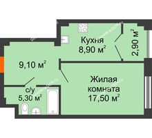 1 комнатная квартира 43,1 м², ЖК Гагарин - планировка