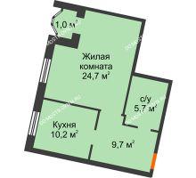 1 комнатная квартира 51,3 м², Жилой дом: ул. Варварская - планировка