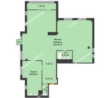 1 комнатная квартира 178,4 м² в ЖК Ренессанс, дом № 1 - планировка