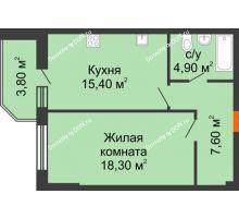 1 комнатная квартира 50 м², Жилой Дом пр. Чехова - планировка