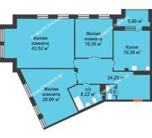 3 комнатная квартира 147,2 м², Дом премиум-класса Коллекция - планировка