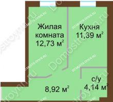 1 комнатная квартира 37,18 м² в ЖК Каменки, дом №14