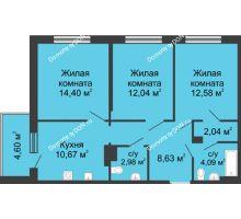 3 комнатная квартира 72,03 м² в ЖК Времена Года, дом № 1