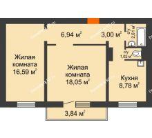 2 комнатная квартира 58,27 м² в Микрорайон Нанжуль-Солнечный, дом № 9 - планировка