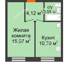 1 комнатная квартира 33,44 м², ЖК Советский - планировка