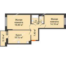 2 комнатная квартира 64 м² в ЖК Династия, дом Литер 2 - планировка