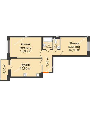 2 комнатная квартира 64 м² в ЖК Династия, дом Литер 2