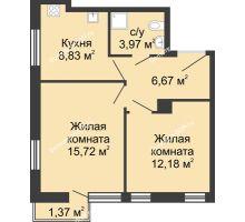 2 комнатная квартира 47,76 м², ЖК Соборный - планировка