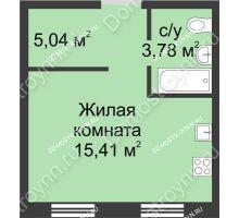 Студия 24,23 м² в ЖК Тридесятое, дом № 23 - планировка