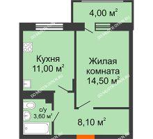 1 комнатная квартира 39,2 м² в ЖК Цветы 2, дом № 4 - планировка