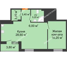 1 комнатная квартира 64,6 м² в ЖК Корица, дом № 1 - планировка
