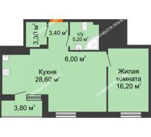 1 комнатная квартира 64,6 м², ЖК Корица - планировка