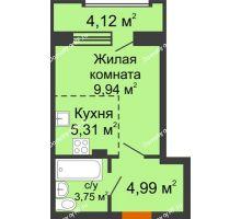 Студия 26,05 м² в ЖК Суворов-Сити, дом 2 очередь секция 1-5 - планировка