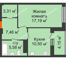 1 комнатная квартира 46,11 м² в ЖК Облака, дом № 2