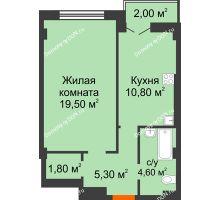 1 комнатная квартира 44 м² в ЖК Парк Островского 2, дом № 1 - планировка