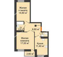 2 комнатная квартира 57,88 м² в ЖК Европа-сити, дом Литер 5 - планировка