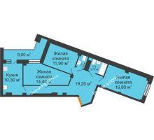 3 комнатная квартира 82,8 м² в ЖК Манхэттен О2, дом Дом 2 - планировка