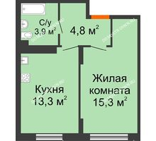 1 комнатная квартира 37,3 м² в ЖК Новая Кузнечиха, дом № 31 - планировка