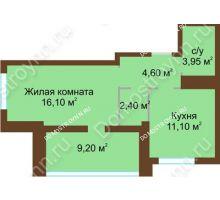 1 комнатная квартира 42,75 м², Жилой дом: ул. Краснозвездная д. 2 - планировка