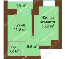 1 комнатная квартира 40,5 м² в ЖК Рубин, дом № 67