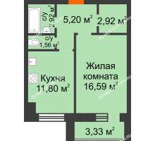 1 комнатная квартира 43,16 м² в ЖК Парк Горького, дом 62/18, № 6 - планировка