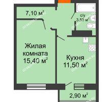 1 комнатная квартира 37,8 м² в ЖК Торпедо, дом № 1