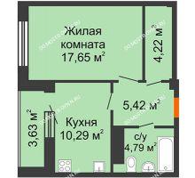 1 комнатная квартира 44,19 м² в ЖК Облака, дом № 2 - планировка