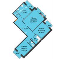 3 комнатная квартира 91,25 м², Жилой дом: г. Дзержинск, ул. Кирова, д.12 - планировка